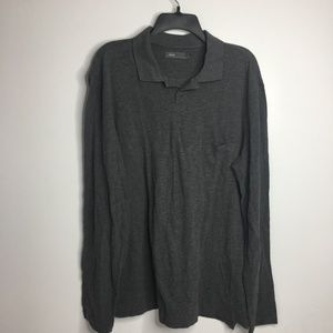 Vince Mens XL Long Sleeve Pocket Pullover Gray